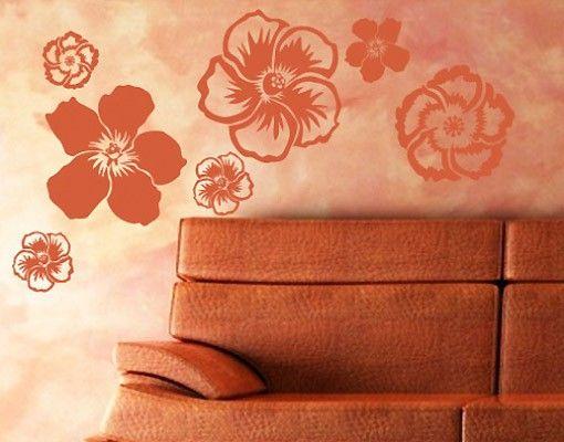 Wandtattoo Hibiskus No.UL142 Hibiskusblüten