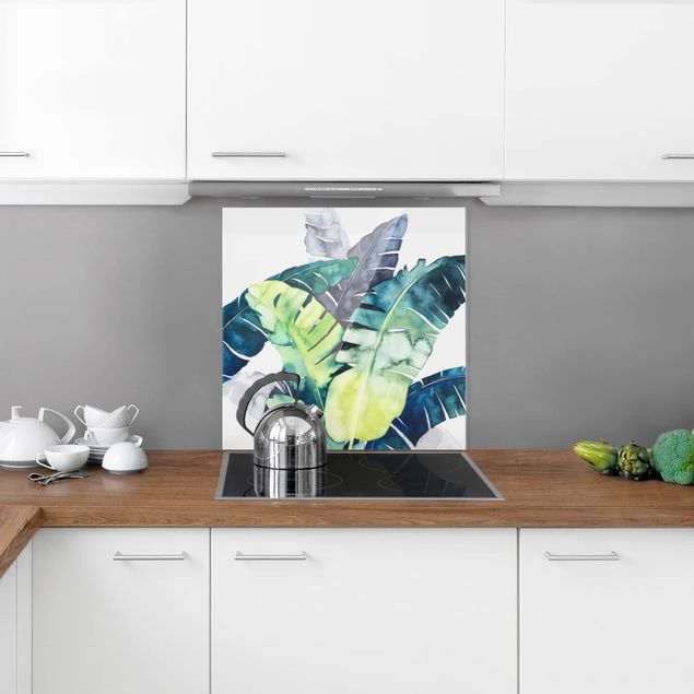 Glas Spritzschutz - E:otisches Blattwerk - Banane - Quadrat - 1:1