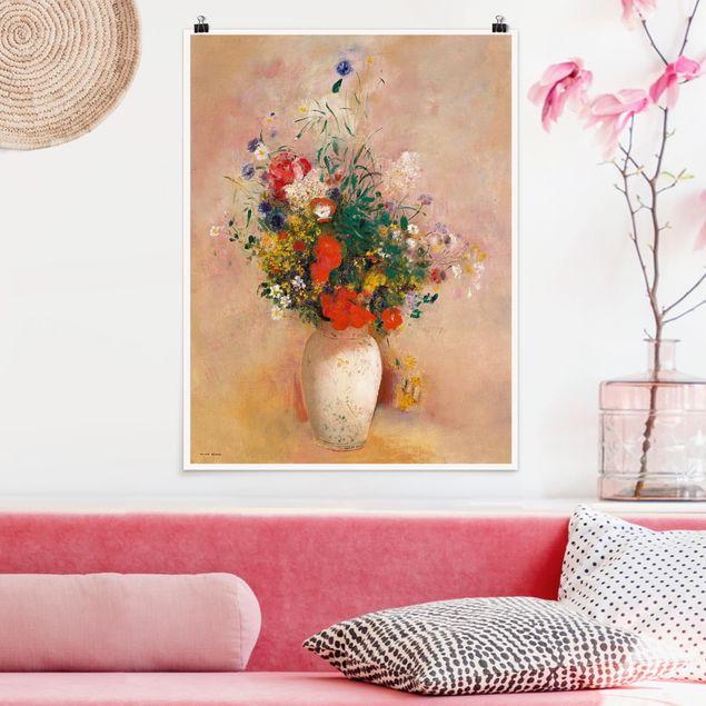 Poster - Odilon Redon - Vase mit Blumen (rosenfarbener Hintergrund) - Hochformat 3:4