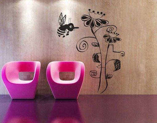 Wandtattoo Kinderzimmer No.AR6 Blume mit Biene