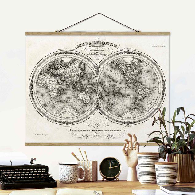 Stoffbild mit Posterleisten - Weltkarte - Französische Karte der Hemissphären von 1848 - Querformat 3:4