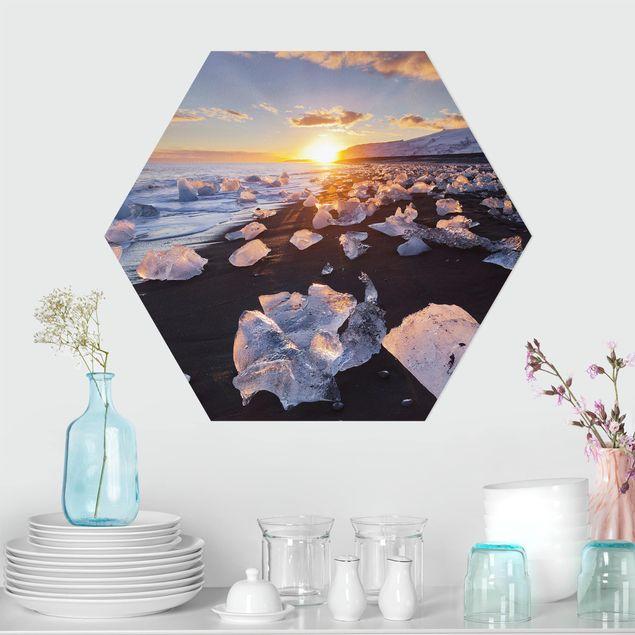 Hexagon Bild Forex - Eisbrocken am Strand Island