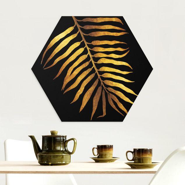 Hexagon Bild Alu-Dibond - Gold - Palmenblatt II auf Schwarz