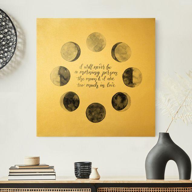 Leinwandbild Gold - Ode an den Mond - Liebe - Quadrat 1:1