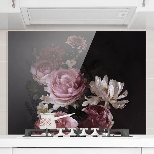 Glas Spritzschutz - Rosa Blumen auf Schwarz - Querformat - 4:3
