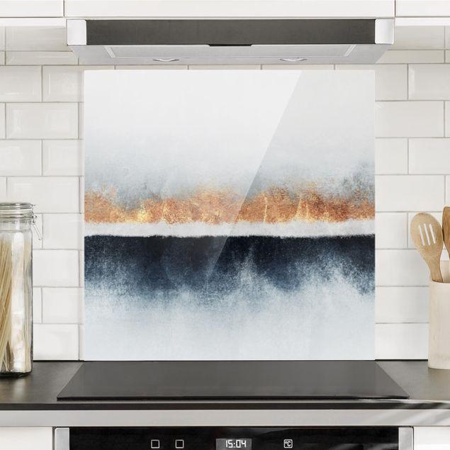 Spritzschutz Glas - Goldener Horizont Aquarell - Quadrat 1:1