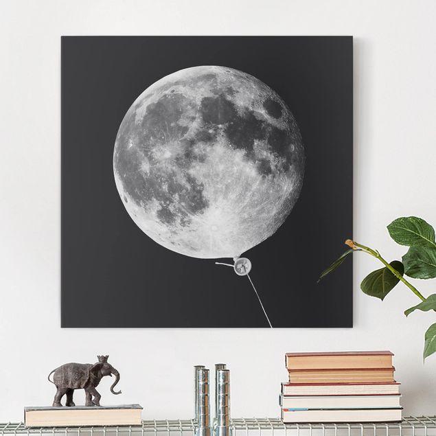 Leinwandbild - Jonas Loose - Luftballon mit Mond - Quadrat 1:1