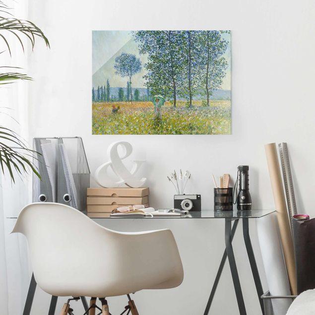 Glasbild - Claude Monet - Felder im Frühling - Querformat 3:4