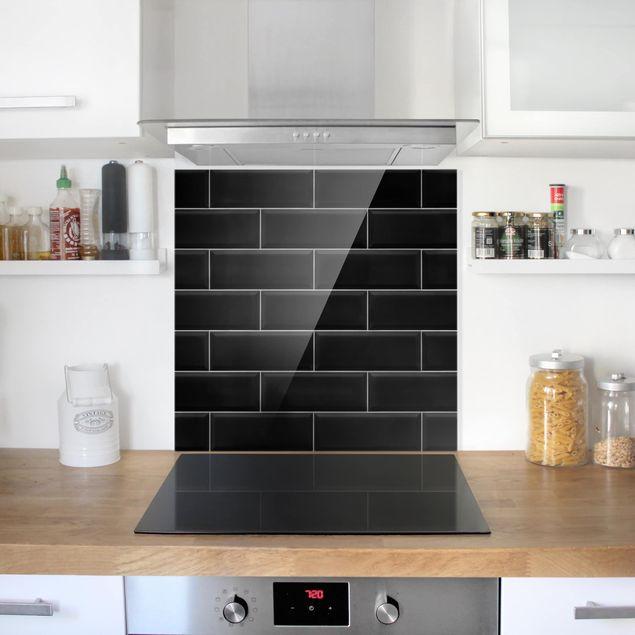 Glas Spritzschutz - Keramikfliesen Schwarz - Quadrat - 1:1