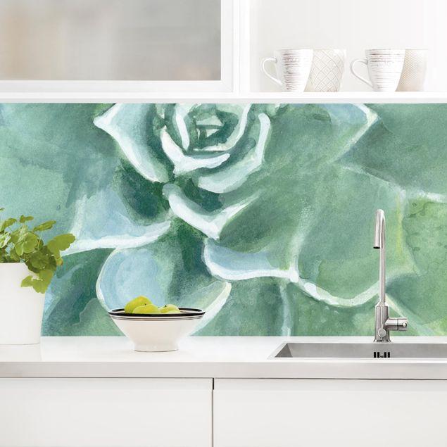 Küchenrückwand - Sukkulente Aquarell Dunkel