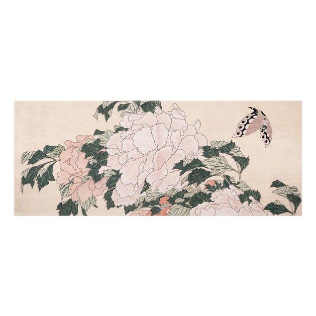 Spritzschutz Glas - Katsushika Hokusai - Rosa Pfingstrosen mit Schmetterling - Panorama - 5:2