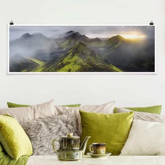 Poster - Storkonufell im Sonnenaufgang - Panorama Querformat
