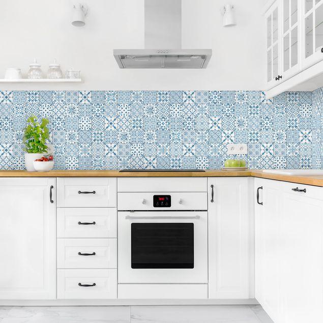 Küchenrückwand - Musterfliesen Blau Weiß