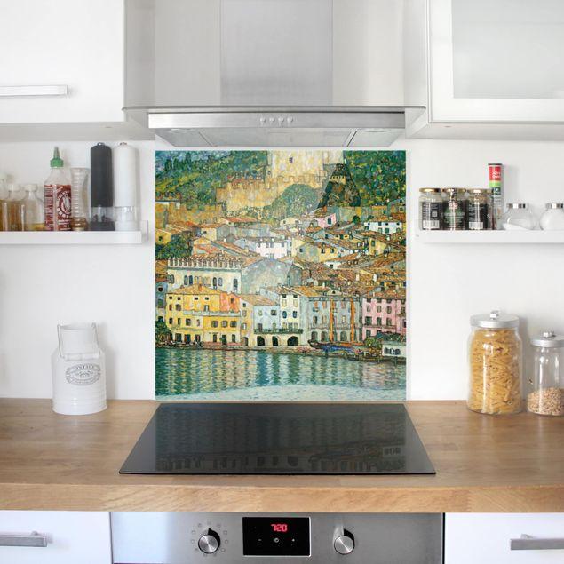 Glas Spritzschutz - Gustav Klimt - Malcesine am Gardasee - Quadrat - 1:1