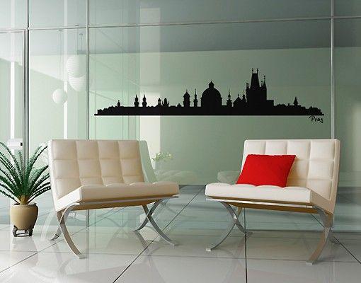 Stadt Prag - Wandtattoo Skyline - No.SF488 Prag Skyline Wandtattoo