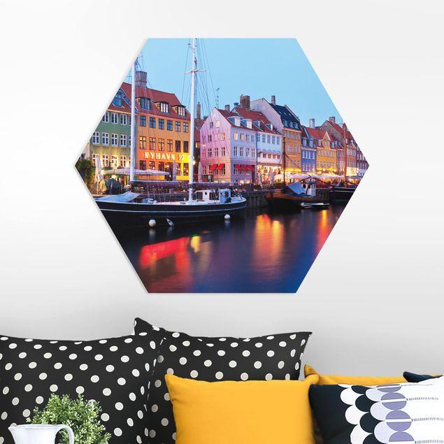 Hexagon Bild Forex - Kopenhagener Hafen am Abend