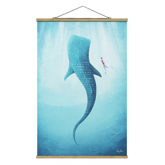 Stoffbild mit Posterleisten - Der Walhai - Hochformat 2:3
