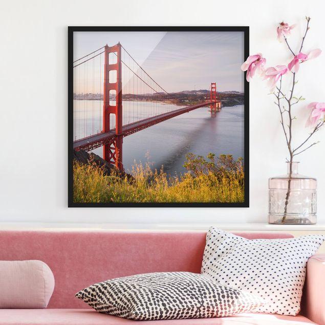 Bild mit Rahmen - Golden Gate Bridge in San Francisco - Quadrat 1:1