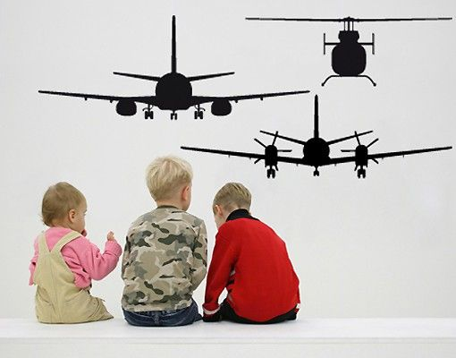 Wandtattoo No.SF513 BSB Aircraft+Heli Set