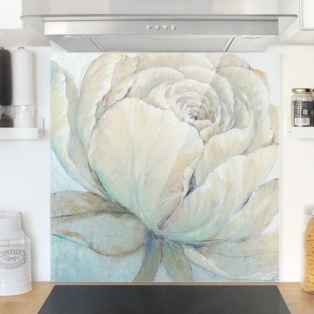 Glas Spritzschutz - Englische Rose Pastell - Quadrat - 1:1