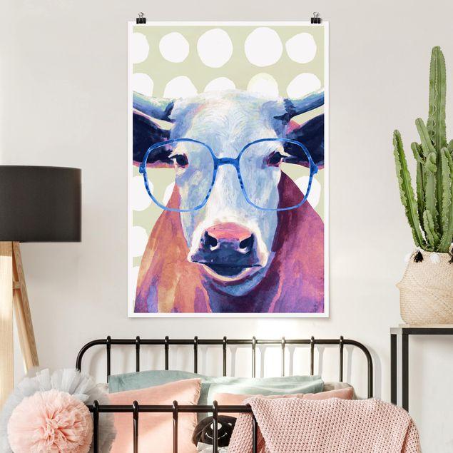 Poster - Bebrillte Tiere - Kuh - Hochformat 3:2