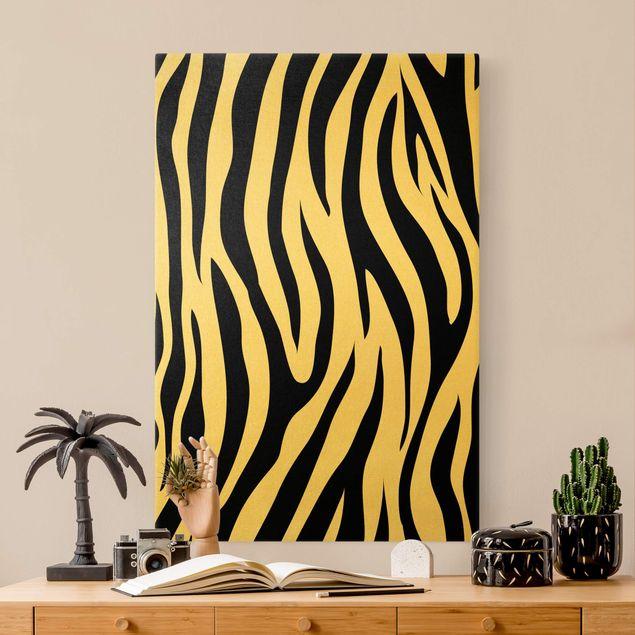 Leinwandbild Gold - Zebra Print - Hochformat 2:3