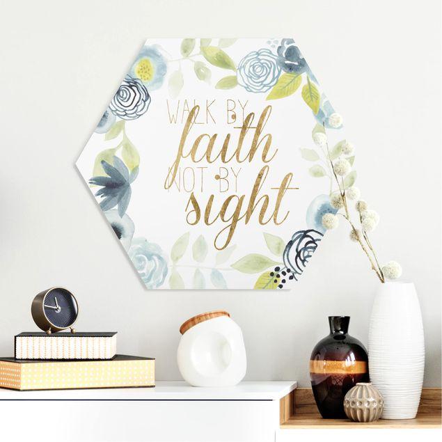 Hexagon Bild Forex - Blumenkranz mit Spruch - Faith