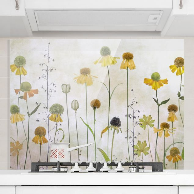 Glas Spritzschutz - Zarte Helenium Blüten - Querformat - 4:3
