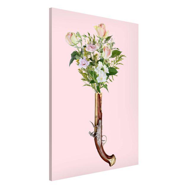 Magnettafel - Jonas Loose - Pistole mit Blumen - Memoboard Hochformat 3:2