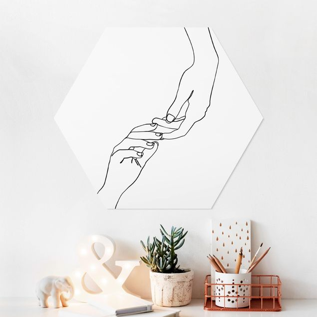 Hexagon Bild Forex - Line Art Hände Berührung Schwarz Weiß