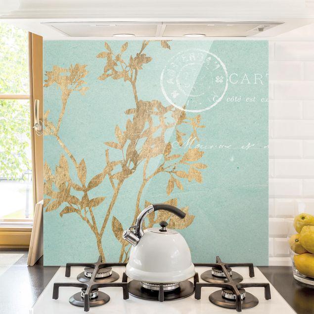 Glas Spritzschutz - Goldene Blätter auf Turquoise I - Quadrat - 1:1