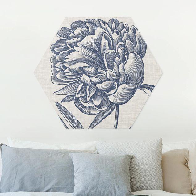 Hexagon Bild Forex - Indigo Blüte auf Leinen I