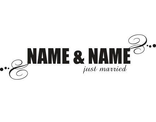 Wandtattoo Sprüche - Wandtattoo Namen No.536 Wunschtext Just Married II