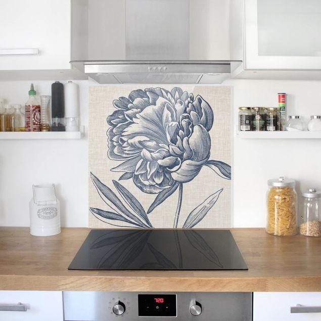 Glas Spritzschutz - Indigo Blüte auf Leinen I - Quadrat - 1:1