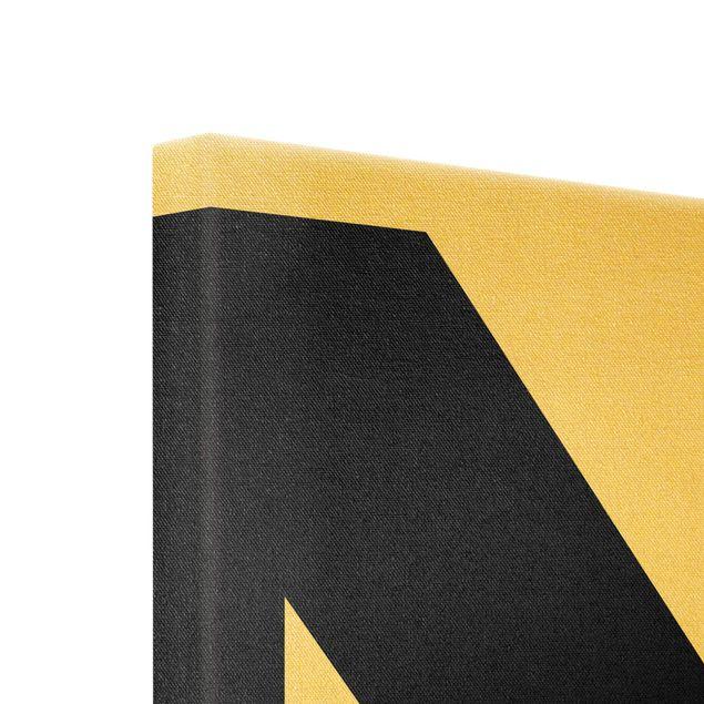 Leinwandbild Gold - Antiqua Letter N - Quadrat 1:1