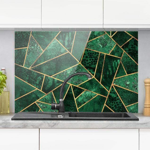 Spritzschutz Glas - Dunkler Smaragd mit Gold - Querformat 2:3