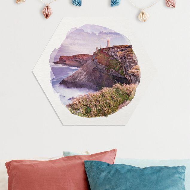 Hexagon Bild Forex - Wasserfarben - Steilküste und Leuchtturm