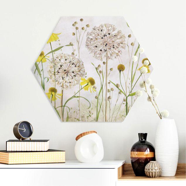 Hexagon Bild Forex - Allium und Helenium Illustration