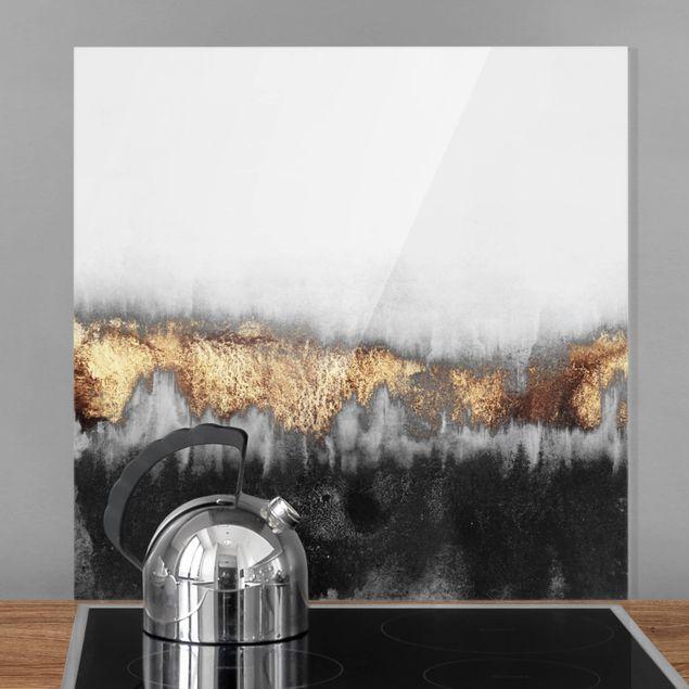 Spritzschutz Glas - Goldspuren in Aquarell - Quadrat 1:1