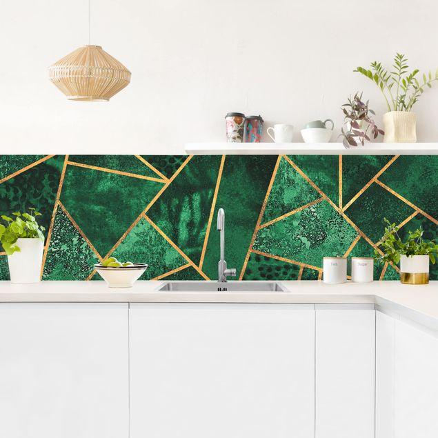 Küchenrückwand - Dunkler Smaragd mit Gold