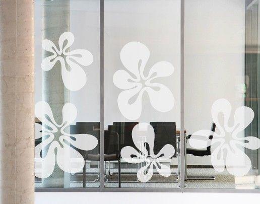 Fensterfolie - Fenstertattoo No.UL481 Fünf Blubberblüten - Milchglasfolie