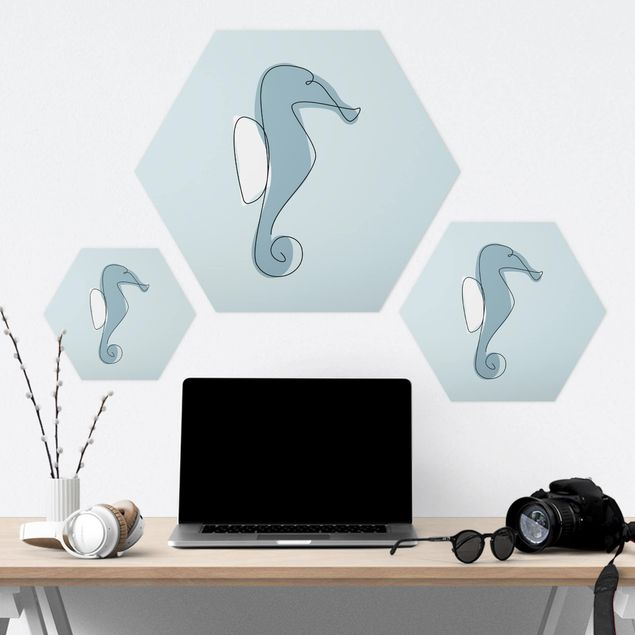 Hexagon Bild Forex - Seepferdchen Line Art