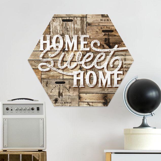 Hexagon Bild Forex - Home sweet Home Holzwand