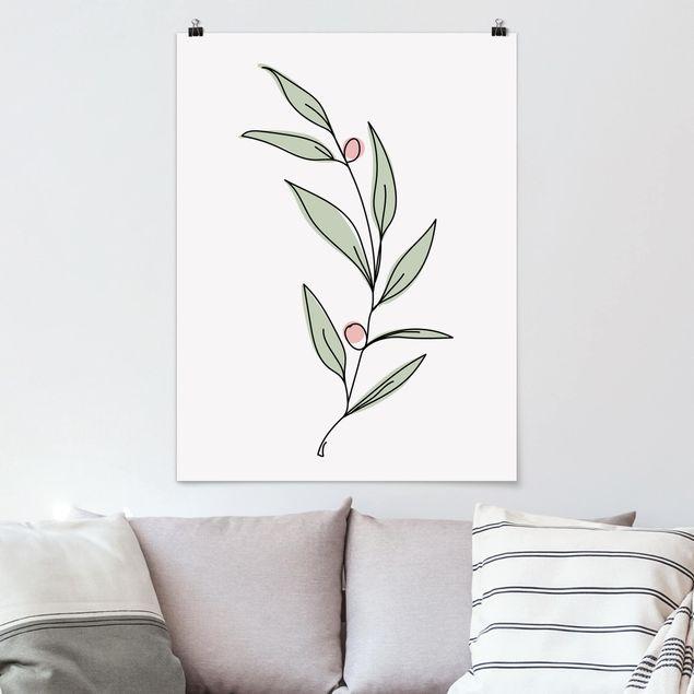 Poster - Zweig mit Beeren Line Art - Hochformat 4:3