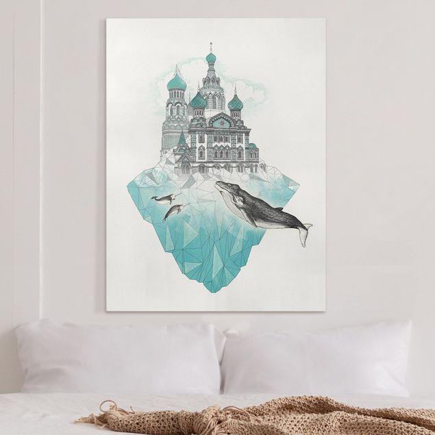 Leinwandbild - Illustration Kirche mit Kuppeln und Wal - Hochformat 4:3