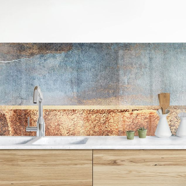 Küchenrückwand - Abstraktes Seeufer in Gold