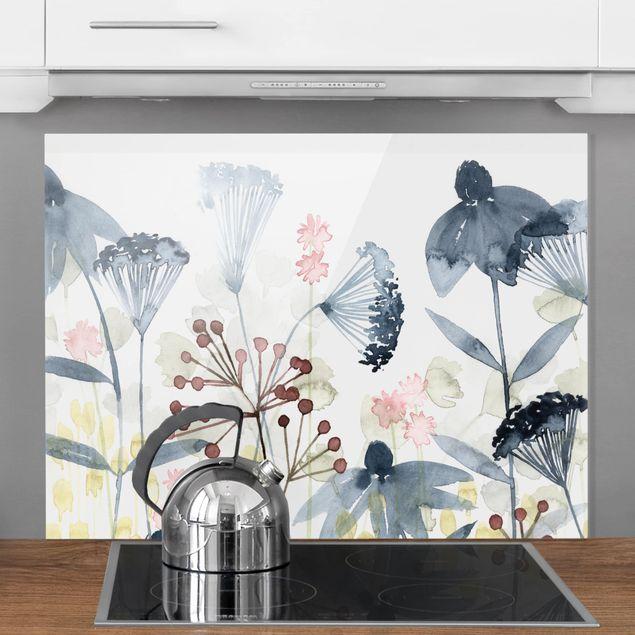 Glas Spritzschutz - Wildblumen Aquarell I - Querformat - 4:3