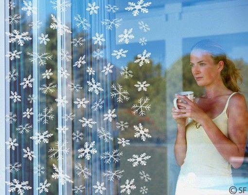 Fensterfolie - Fenstertattoo No.SF834 Schneeflocken - Milchglasfolie