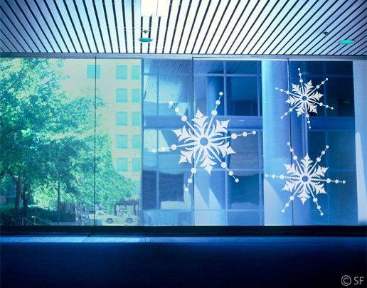 Fensterfolie - Fenstertattoo No.SF839 Drei Eiskristalle - Milchglasfolie