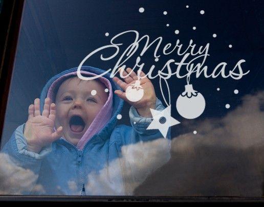 Fensterfolie - Fenstertattoo No.UL536 Merry Christmas - Milchglasfolie